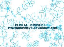 小清新手绘线条花纹图案Photoshop鲜花印花笔刷