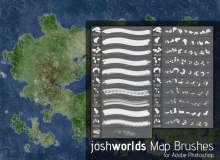 地图素材、岛屿、大陆元素Photoshop地图笔刷