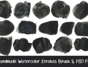 12种高清水墨、水彩涂抹笔迹PS笔刷素材下载(含PNG高清单个素材)