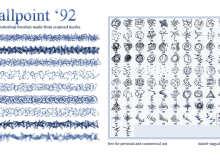 92种不同的细笔触涂鸦划痕纹理Photoshop笔刷素材