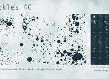 40种油漆滴溅、水墨斑点纹理PS笔刷素材下载