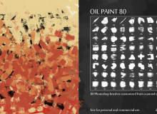 80种油漆刷子、油画笔触涂抹效果PS水彩画笔笔刷素材