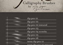 高级钢笔笔触效果PS笔刷素材
