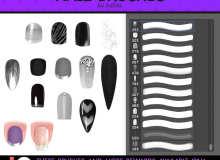 时尚靓丽的女性指甲装饰、亮甲、美甲Photoshop笔刷素材下载