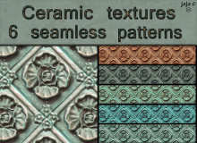6种瓷器花纹背景图案Photoshop填充图案底纹素材.pat(图片格式素材,可以无缝拼接!)