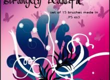 漂亮优雅的植物印花与蝴蝶花纹图案PS笔刷素材下载