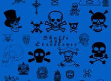 海盗骷髅头图案、恐怖骷髅头徽章Photoshop笔刷下载