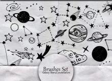 童趣涂鸦星系图案、星球、星星Photoshop笔刷素材下载