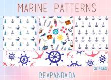 船锚、灯塔、船员、水手等海航海洋元素主题Photoshop背景填充素材下载