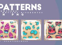 可爱卡通冰淇淋、甜甜圈、蛋糕Photoshop背景填充素材下载