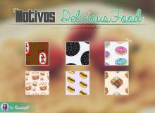 巧克力、饼干、甜甜圈、纸杯蛋糕、热狗等美食Photoshop填充图案底纹素材 Patterns 下载