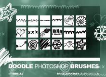 可爱手绘爱心、花朵、线条图案Photoshop童趣笔刷