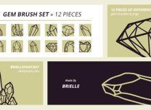 水晶、水晶矿、钻石线框图案Photoshop笔刷素材