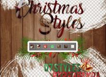 圣诞节、节日装扮Photoshop自定义样式风格素材下载 .asl