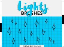 15种不同风格的可爱星星闪烁涂鸦图案Photoshop笔刷素材