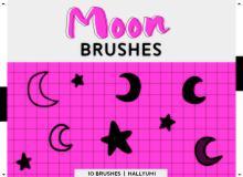 可爱手绘卡通月亮图像Photoshop笔刷素材下载