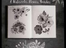 8种漂亮的水彩花朵、鲜花图案PS笔刷素材下载