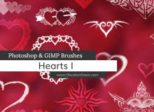 非主流时尚爱心花纹图案PS情人节心形心脏笔刷素材
