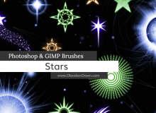 宇宙星星图案、五角星、星球、星光纹饰Photoshop笔刷素材下载