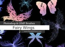 梦幻精灵蝴蝶翅膀、妖姬翅膀PS笔刷素材下载