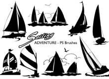 漂亮的帆船剪影图形Photoshop笔刷素材下载