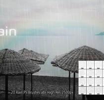 20种超真实的下雨纹理图案PS雨水笔刷