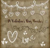 可爱的爱心、心形涂鸦手绘图案PS情人节装扮笔刷素材