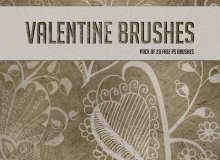 漂亮的手绘艺术爱心花纹图案PS情人节爱心笔刷素材