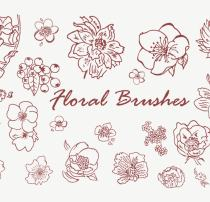 漂亮的手绘鲜花花朵图案Photoshop印花花纹笔刷素材