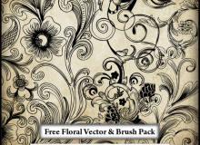 漂亮的手绘素描式艺术花纹图案Photoshop笔刷素材下载