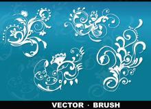 精美优雅的贵族植物艺术花纹图案Photoshop印花笔刷素材