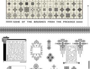 200种经典复古的民族特色古典花纹图案Photoshop像素印花笔刷