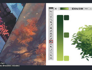 树叶、绿叶手绘效果PS笔刷素材下载