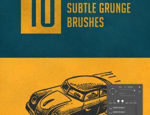 10种复古风格背景纹理效果、磨砂式、肮脏的涂抹效果PS笔刷素材下载