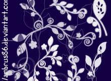 漂亮的手绘植物枝条印花、花纹图案PS笔刷素材下载