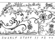 手绘小清新艺术线条花纹涂鸦艺术PS笔刷素材下载