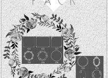 漂亮的鲜花花朵花环、花圈装扮和边框花纹图案PS笔刷素材下载