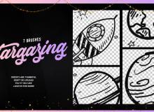 可爱的卡通涂鸦星球、宇宙飞船图案PS笔刷素材下载
