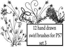 12种童趣手绘涂鸦式植物印花图案Photoshop笔刷素材下载