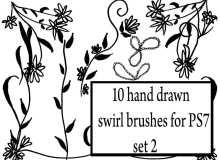 10种可爱的幼稚涂鸦花纹图案PS笔刷素材下载