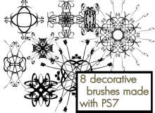 8种欧式文艺复兴时期的对称旋转花纹图案PS笔刷素材下载