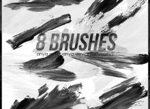 8种油漆刷子涂痕迹效果PS笔刷素材下载