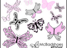 漂亮的卡通蝴蝶花纹图案PS笔刷素材下载