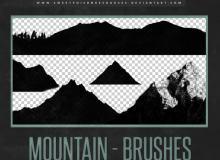 山峰、山脉、山丘剪影图像Photoshop笔刷素材下载