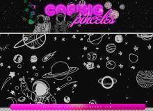 可爱的童趣手绘行星、星球、宇航员等PS笔刷素材下载