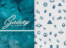 手绘太阳、行星、金字塔、月亮、外星人、魔法棒、闪电、禾苗、水晶钻等符号PS笔刷
