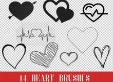 14种爱心图案、心跳图案、心电图效果PS笔刷素材下载