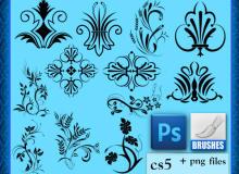 漂亮、优雅的植物印花图案Photoshop笔刷素材下载