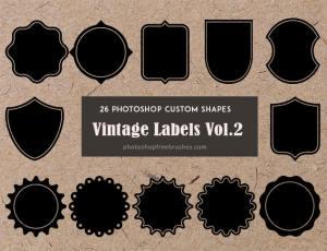 26种复古式标签图案PS自定义形状素材.csh下载