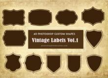 40种复古标签图案photoshop自定义形状素材 .csh 下载